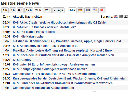 Screenshot des Tages 20130730